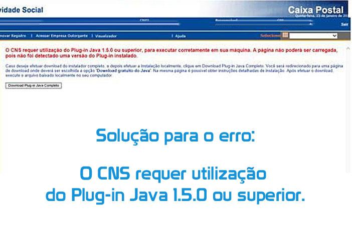 O CNS requer utilização do Plug-in Java 1.5.0 ou superior