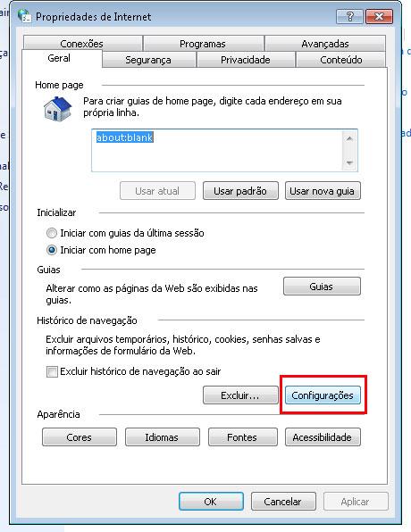 coleta web configurações internet explorer