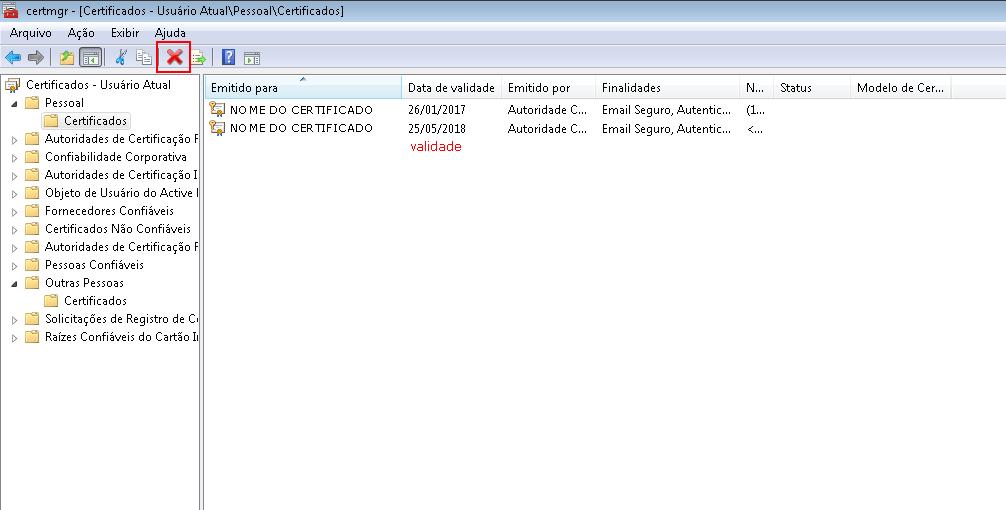 remover certificado digital vencido ferramenta gerenciador de certificados certmgr msc