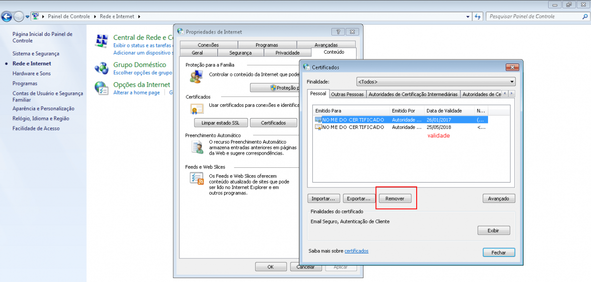 remover certificado digital vencido internet explorer opções da internet