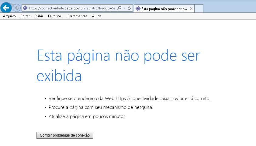 pagina não pode ser exibida conectividade social icp