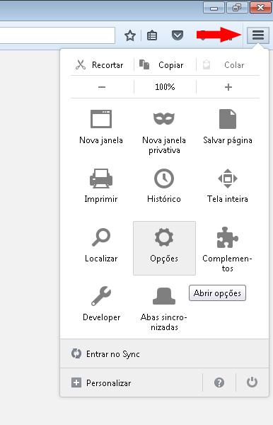 Opções Firefox